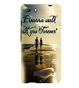 Printvisa Couple Walkigh On A Beach Back Case Cover for MIcromax Canvas Unite 3 Q372