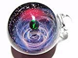 注文混雑中のため、只今納期2-3週間★受注製作★[Mars」宇宙 ペンダント パイレックスガラス ブラックオパール