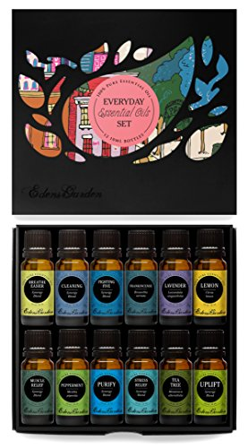 Everyday 100% Pure Essential Oil Gift Set- 12/10 ml (Breathe Easier, Cleaning, Frankincense (serrata), Fighting Five (previously known as Four Thieves), Lavender, Lemon, Muscle Relief, Peppermint, Purify, Stress Relief, Tea Tree, Uplift) by Edens Garden