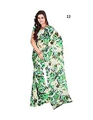 Daily Wear Beige Floral Print Georgette Saree - B00ZRDATQK