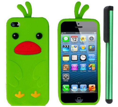 Neon Green Funny Duck Silicone Skin Premium Design Protector Soft Cover Case Compatible for Apple Iphone 5 (AT&T, VERIZON, SPRINT) + Combination 1 of New Metal Stylus Touch Screen Pen (4