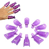 Professional 10pcs Durable Reusable Plastic Nail Art Polish Soak Off Remover Wrap Cleaner Clip Cap Tool (Purple)