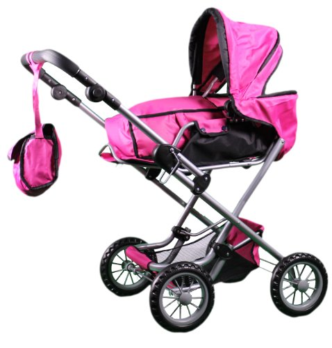 Mommy & Me 3 1N 1 Bassinet Doll Pram (32'' High) With Free Carriage Bag - 9333C