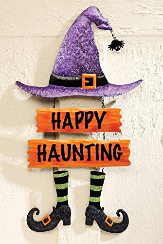 Happy Haunting Witch's Hat Halloween Door Sign Wall Art