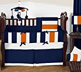 Sweet Jojo Designs Navy Blue, Orange and White Fabric Memory/Memo Photo Bulletin Board for Stripe Collection
