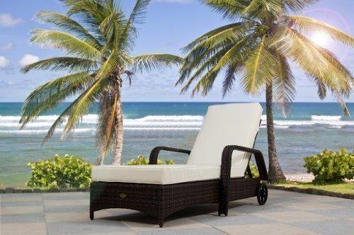 essella Polyrattan Sonnenliege Barbados in Bicolor-Braun mit extra starkem 1,4mm Geflecht