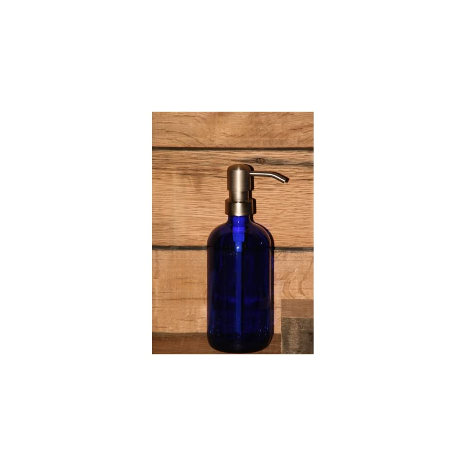 Industrial Rewind Cobalt Blue Pint Jar Soap Dispenser with Stainless Metal Pump