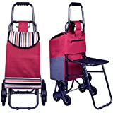 Stair Climbing Rolling Shopping Utility Seat Cart