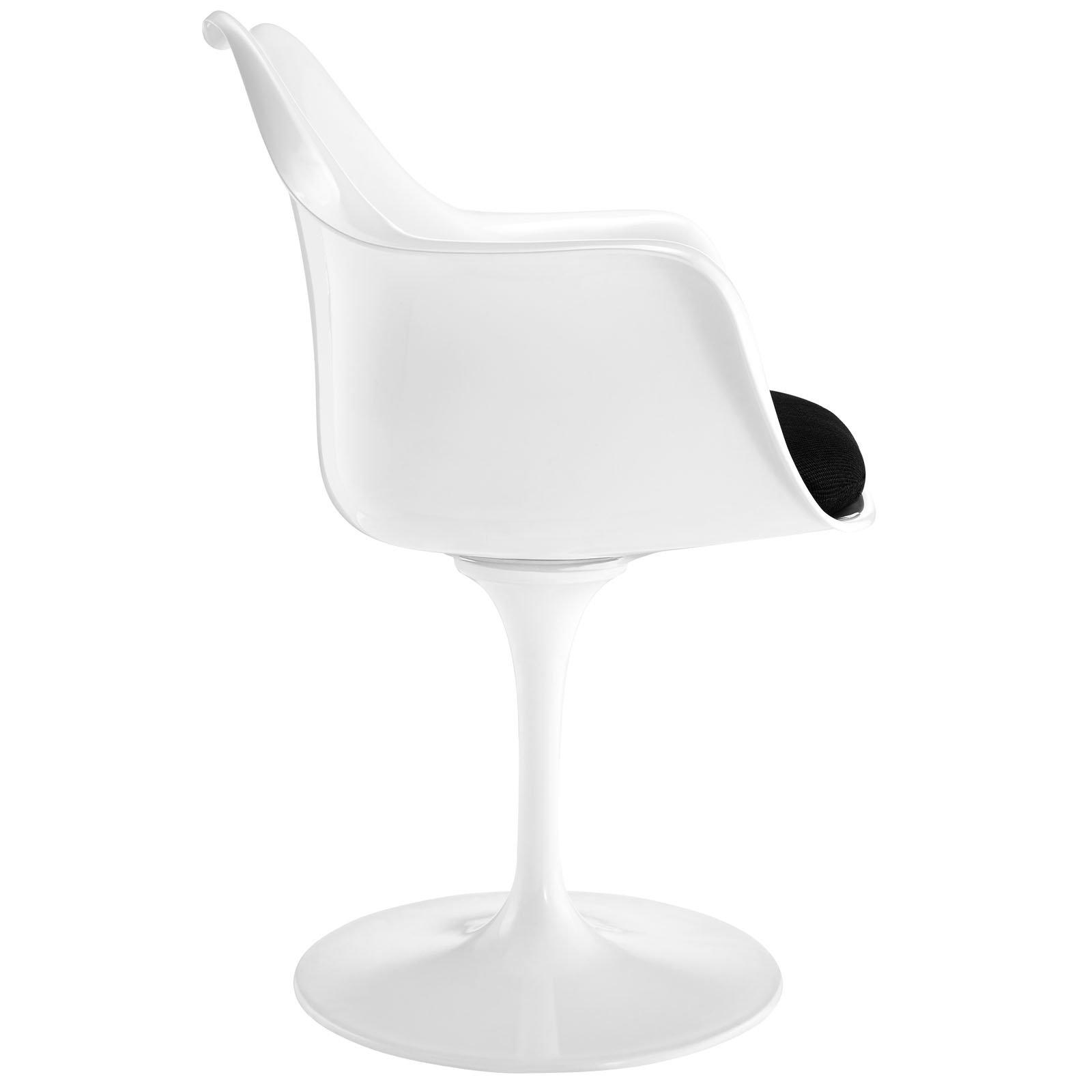 LexMod Eero Saarinen Style Tulip Armchair with Black Cushion