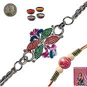 Indiangiftemporium Beautiful Rajasthani Floral Design Silver Rakhi Rakhi Raksha Bandhan Gift Band Moli Bracelet...