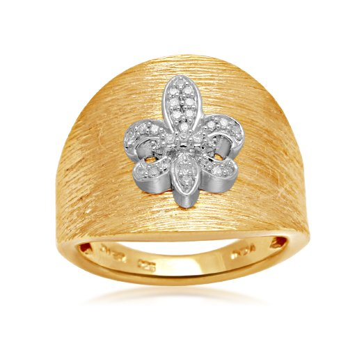 Sterling Silver Diamond Fleur-de-Lis Ring (1/10 cttw, I-J Color, I2-I3 Clarity), Size 8