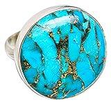 Blue Copper Composite Turquoise, Turquoise Bleue Composite Cuivre Argent Sterling 925 Bague 8.75