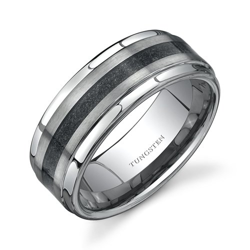 Step Edge Brush Finish Black Carbon Fiber 9 mm Comfort Fit Mens Tungsten Wedding Band Ring Size 8 Free Shipping