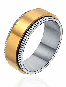 Stainless Steel 8mm Spinner Milgrain Edges Couple Wedding Band Ring Mens (Gold and Silver Color) G5041n913A