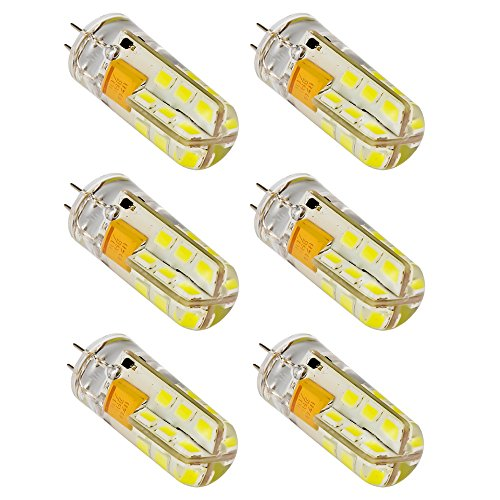 Mudder® 6Pcs Set G4 24-Led White Light Crystal Bulb Lamps 3 Watt Ac Dc 12V Non-Dimmable Equivalent To 20W Incandescent Bulb Replacement Led Bulbs