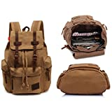 Cantina® Premium Quality Vintage Leather Backpack, Hiking Daypacks, Computers iPad Laptop Backpacks, Unisex Casual School Travelling Rucksack Satchel Bookbag Mountaineering Bag (Khaki)