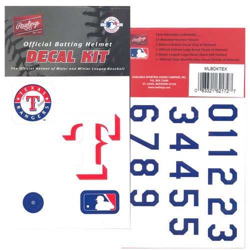 Rawlings Major League Baseball Team Helmet Decal Kit - Texas Rangers One Size at Amazon.com