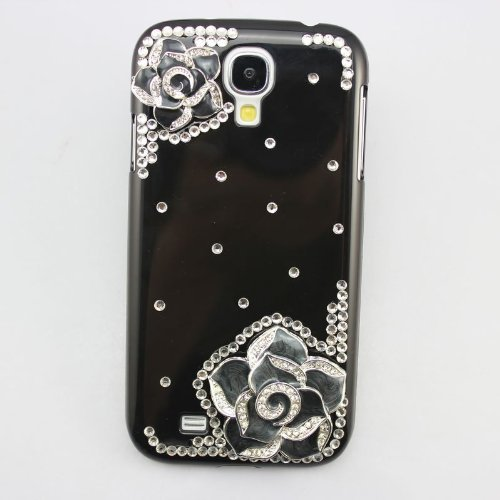 Coco Hand-made Durable Hard Crystal Bling Black Case Skin Cover Black Flower for Samsung Galaxy S4 i9500