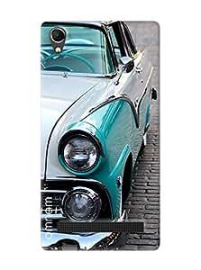 Omnam Vintage Open Car Blue Printed Designer Back Cover Case For Intex Aqua Power Plus