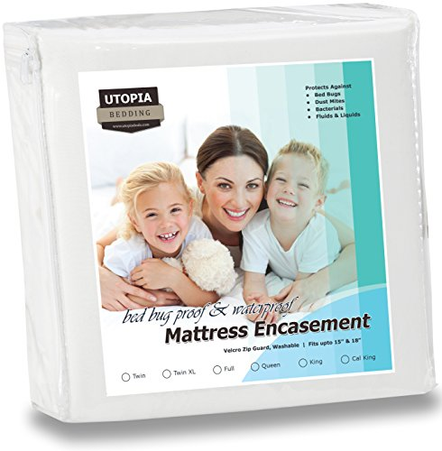 Waterproof Mattress Encasement - Zippered Bed Bug Proof Mattress Cover with Ample Zipper Opening - Mattress Protector, Ultimate Protection Against Insects and Dust Mites (Twin) by Utopia Bedding (Protection For Bed compare prices)