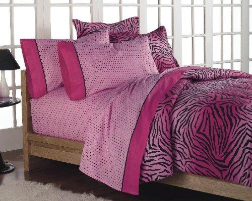 Hot Pink Zebra Print Comforter Set