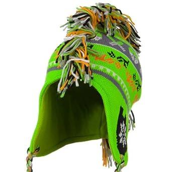 Knit Mohawk Ski Beanie Hat - Neon Green