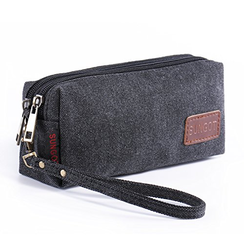 Canvas Zipper Wristlet Coin Change Bag, Cell Phone Purse Pen Pencil Stationery Case (Samsung Galaxy A5 Mini compare prices)
