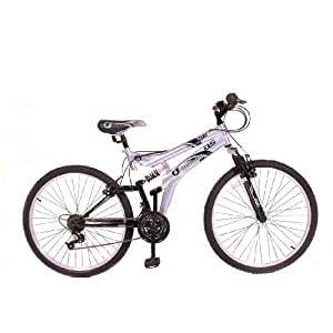 Mens Octane Dual Suspension Mountain Bike in Silver and Black. 12 MONTH MANUFACTURERS WARRANTY.