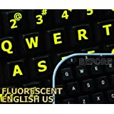 Glowing fluorescent Large Lettering English US keyboard sticker