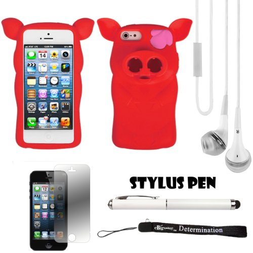 Red Pig Nose Durable Protective Silicone Skin With Earphone Wrap Access For Apple Iphone 5 Ios (6) Smart Phone + White Crystal Clear High Quality Hd Noise Filter Handsfree Earbuds ( 3.5Mm Jack ) + Apple Iphone 5 Screen Protector + Professor Pen 3 In 1 Red