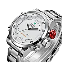 Weide Mens White Dial Dual Time Display Wrist Watch WH2309W