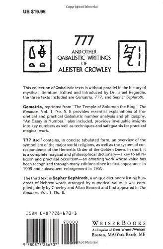 777 And Other Qabalistic Writings Of Aleister Crowley Including