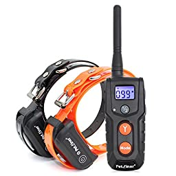 Petrainer PET916-2 330 yd Remote Rechargeable & Waterproof Dog Training Shock Collar with Tone / Vibration / Static Shock E-collar for 2 Dogs