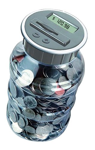 Digital Coin Bank Savings Jar – Automatic Coin Counter Totals all U.S. Coins including Dollars and Half Dollars – Original Style, Clear Jar