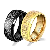 8MM Black Plated Stainless Steel Ring Muslim Jewelery Band with Shahada Size 10