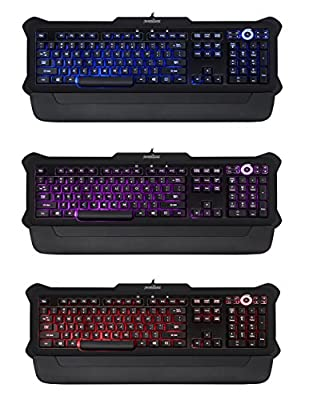 Perixx PX-1100, Backlit Gaming Keyboard - USB - Red/Blue/Purple Illuminated Keys - Full Size Layout - Elegant Rubber Black Design - 20 Million Key-press Lifecycle - Brightness Control Wheel - 6 Feet Long Cable - Adjustable Palm rest