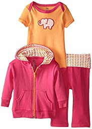 Yoga Sprout Baby-Girls 3 Piece Elephant Hoodie Bodysuit and Pant Set, Pink Elephant, 3-6 M