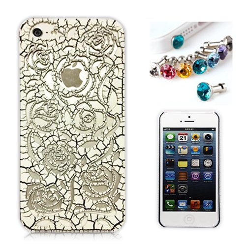 >>  Cocoz® New Releases Romantic White Roses Carved Palace Fashion Design Hard Case Cover Skin Protector for Iphone 5 At&t Sprint Verizon Retail Packing(pc) -H009