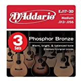 D'Addario EJ17-3D Phosphor Bronze Acoustic Guitar Strings, 3 Sets, Medium