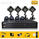 SANNCE Home Smart P2P QR Bar Code Scan 8CH P2P QR Code HDMI BNC VGA CCTV Real-time DVR + Surveillance 600TVL 4 Outdoor 4 Indoor Cameras CCTV Security Video Surveillance System - Mobile Live View (NO HDD )