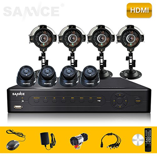 Sannce Home Smart P2P Qr Bar Code Scan 8Ch P2P Qr Code Hdmi Bnc Vga Cctv Real-Time Dvr + Surveillance 600Tvl 4 Outdoor 4 Indoor Cameras Cctv Security Video Surveillance System - Mobile Live View (No Hdd )