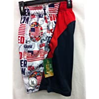 Flow Society Authentic Lacrosse Gear Mesh Shorts Performance United We Stand USA AMERICA Red White Navy Size Youth Small