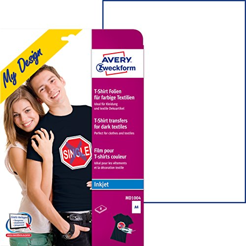 Avery Zweckform MD1004 Textilfolien für farbige Textilien (A4, 210 x 297 mm) 8 Blatt