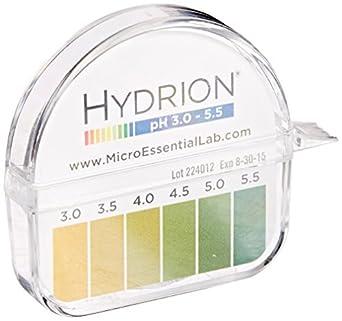 Micro Essential Lab 3110M18EA 325 Hydrion Short Range pH Test Paper Dispenser, 3.0 - 5.5 pH