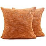 "Store Indya Set of 2 Cotton Cushion Covers Hand Woven Ribbed Orange Throw Pillow Case Home Sofa Decorative (19""x19"")"