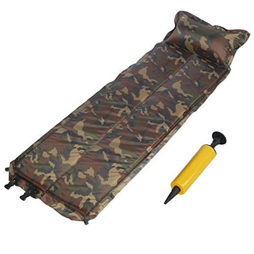 Accmart Self-inflating Air Mattress Sleeping Pad Mat Built-in Pillow Camouflage(183 x 57cm)