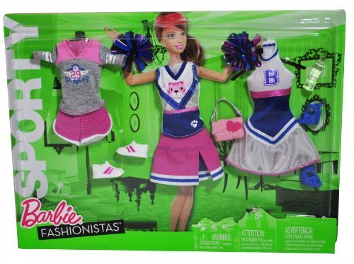 Barbie Year 2010 Fashionistas Series Sporty Outfit Doll Cloth Assortment R6814 - CHEERLEADING Outfits with Short Sleeve Top, Shorts, Cheerleader Sleeveless Top, Mini Skirts, Cheerleader Turtleneck Dress, Handbag, 1 Pair of Sneakers, 1 Pair of High He by Mattel