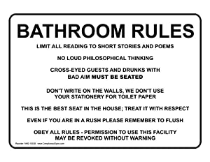 Amazon Com Bathroom Rules Sign Nhe 15938 Restroom
