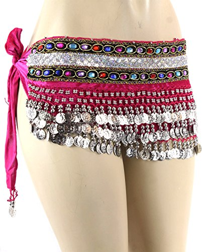 Hot Pink Silver Coins Velvet Rave EDC Belly Dance Skirt Hip Scarf Costume 193 coins