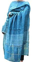 Indo Mood   Exclusive Hand Crafted Pure Maheshwari Cotton Greenish Blue Dupatta